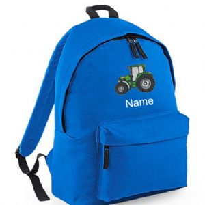 Personalised GREEN TRACTOR Backpack Rucksack Bag  (BG125)